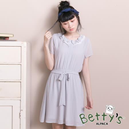 betty's貝蒂思 荷葉領收腰雪紡洋裝