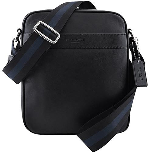 COACH 皮革壓紋斜背包-黑色