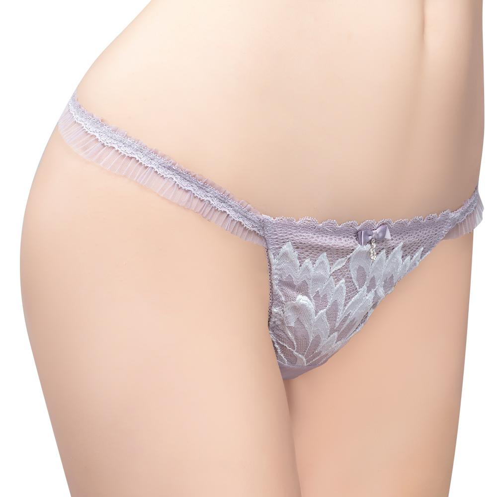 【思薇爾】撩波羽晶伶系列M-XL蕾絲低腰丁字褲(夜櫻灰)