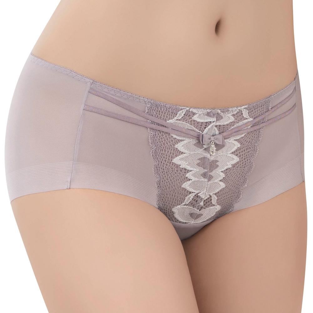 【思薇爾】撩波羽晶伶系列M-XL蕾絲中低腰平口內褲(夜櫻灰)