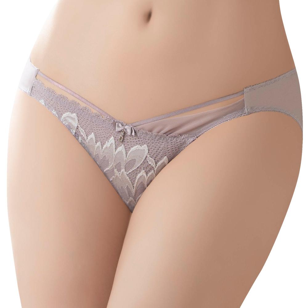 【思薇爾】】撩波羽晶伶系列M-XL蕾絲低腰三角內褲(夜櫻灰)