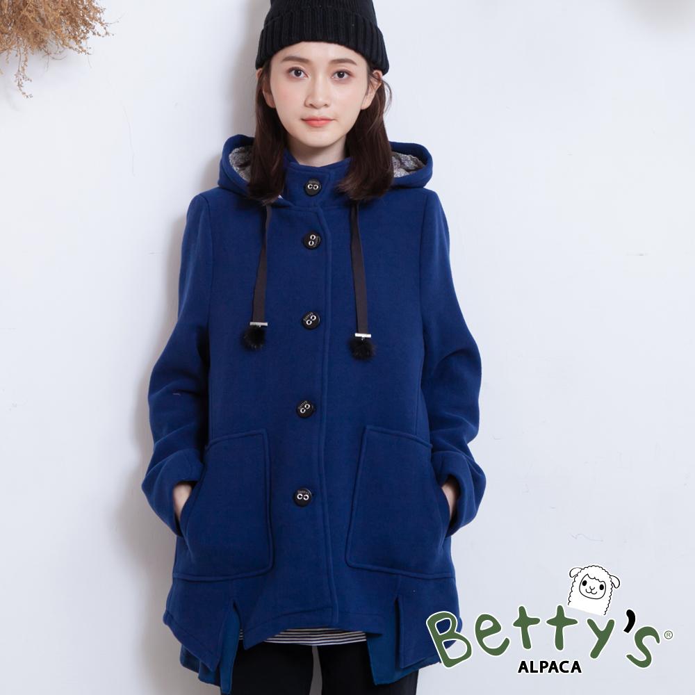 betty's貝蒂思 連帽排釦下開衩毛呢大衣(深藍)
