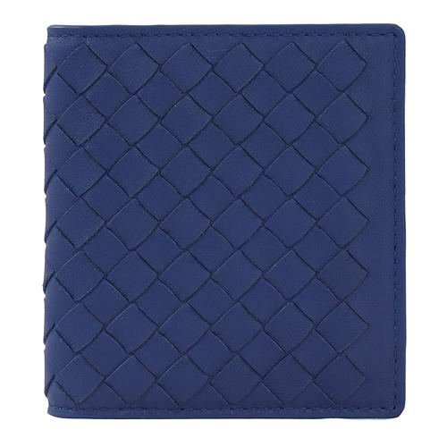 BOTTEGA VENETA 編織小牛皮扣式名片夾.深藍
