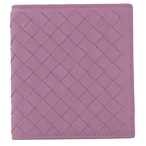 BOTTEGA VENETA 編織小牛皮扣式名片夾.粉紫