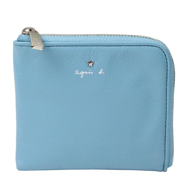 【agnes b.】VOYAGE 星星LOGO草寫字母皮革L型拉鍊卡夾零錢包(水藍)