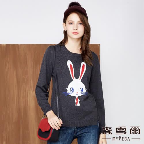 【麥雪爾】純色可愛兔子緹花針織上衣-灰