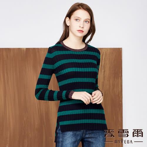 【麥雪爾】羊毛韓版銀蔥長版針織上衣-綠