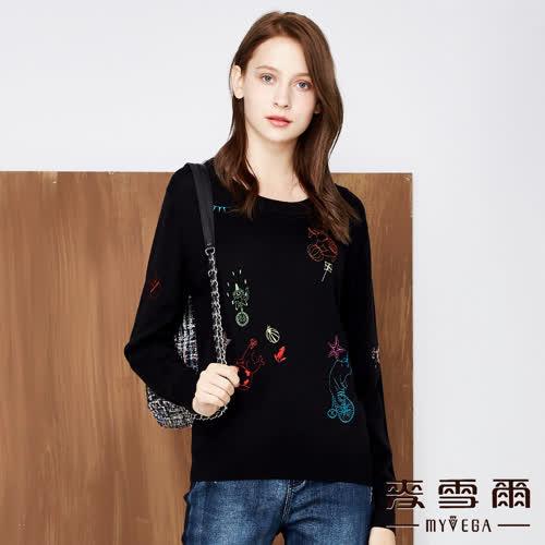 【麥雪爾】羊毛CIRCUS刺繡針織上衣