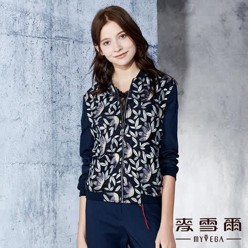 【麥雪爾】蕾絲立體花朵刺繡短版夾克外套