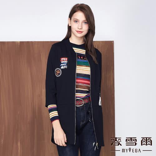 【麥雪爾】棉質徽章輕薄休閒外套