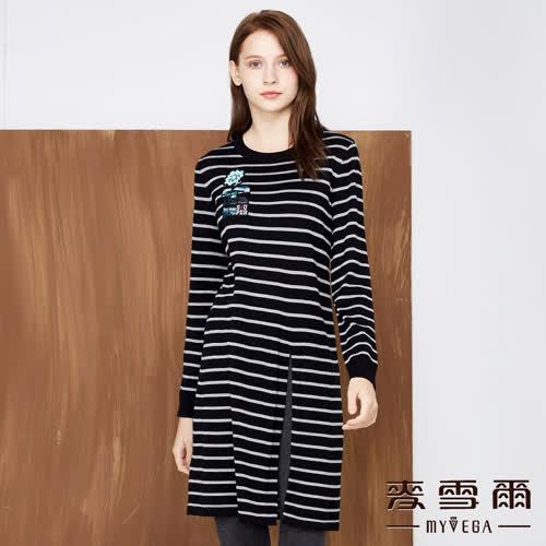【麥雪爾】羊毛刺繡圖騰條紋短洋裝