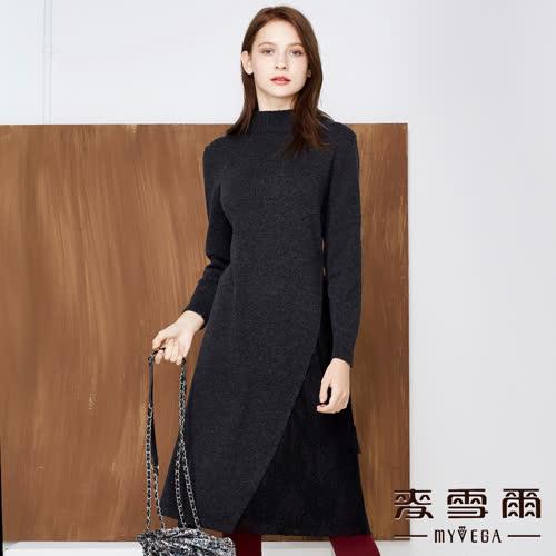 【麥雪爾】小高領羊毛拼接蕾絲雕花短洋裝