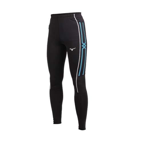 (男) MIZUNO 緊身長褲-束褲 訓練 內搭褲 慢跑 路跑 美津濃 黑水藍白