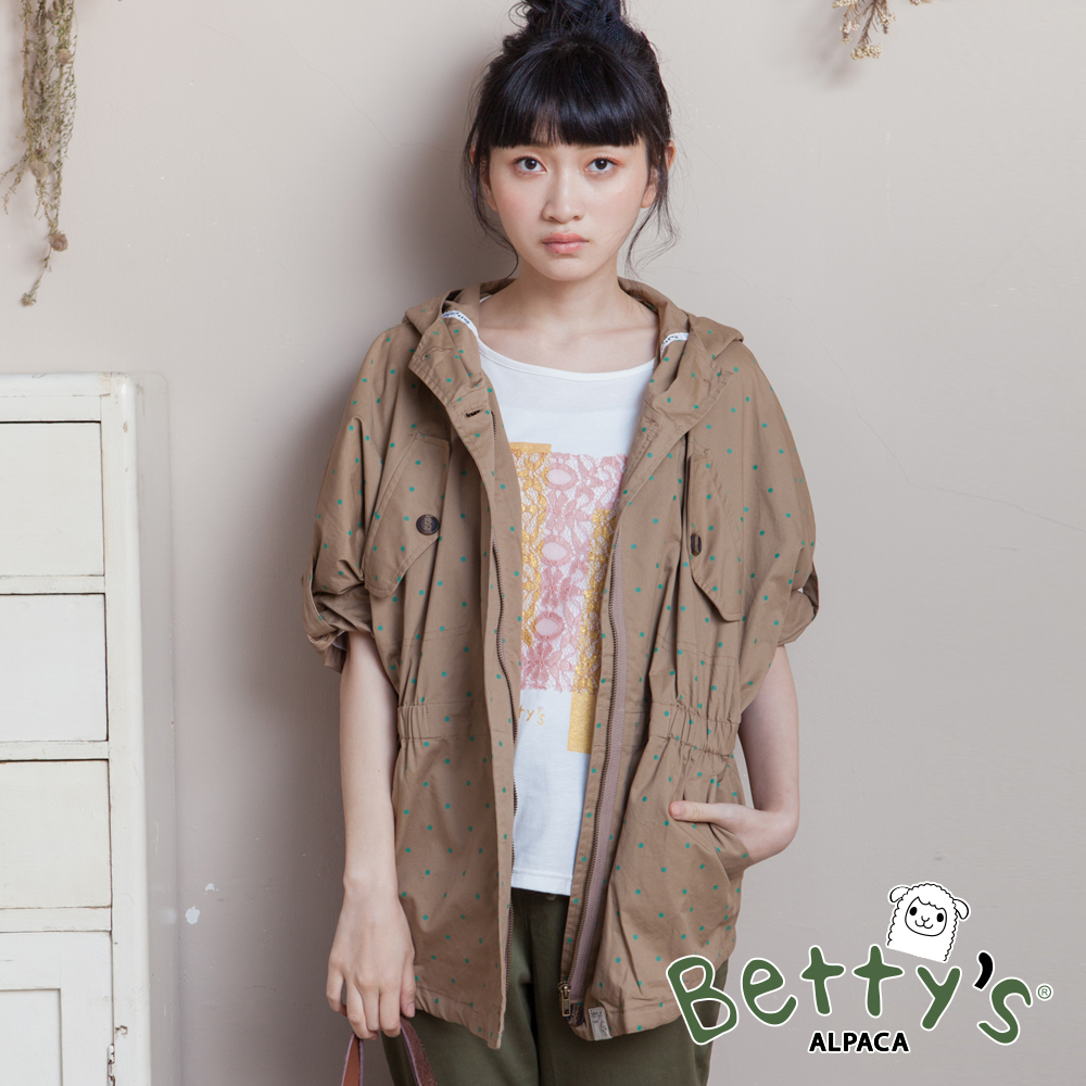 betty's貝蒂思 連帽點點腰間鬆緊拉鍊外套(卡其)