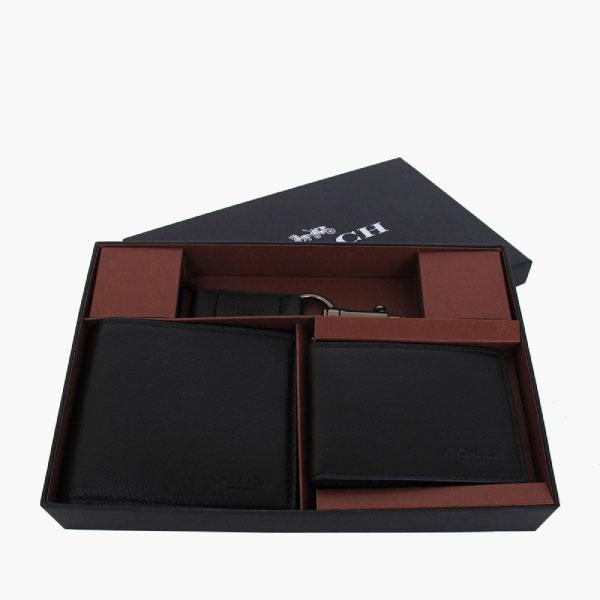 COACH 卵石皮革 / 禮盒套裝 / 雙摺皮夾_黑色