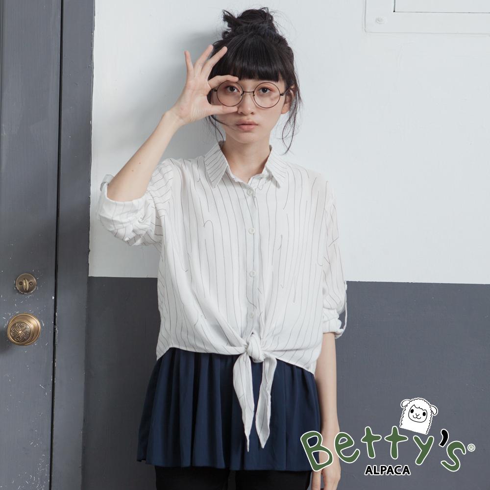 betty's貝蒂思 拼接背心+直條紋造型襯衫(白色)