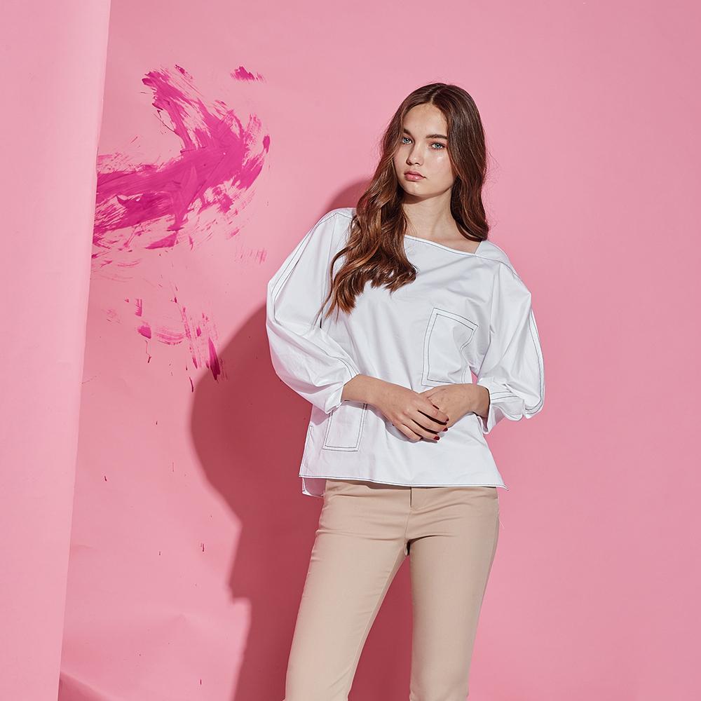 ICHE 衣哲 設計款立體剪裁打版空氣感時尚造型上衣-白