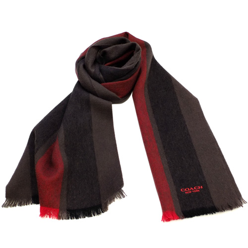 COACH可可拼紅直條紋羊毛圍巾(183x31cm)