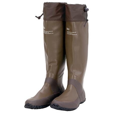 【日本KIU】可折疊百搭雨鞋/文青風氣質雨靴 附收納袋(男女適用)  咖啡色