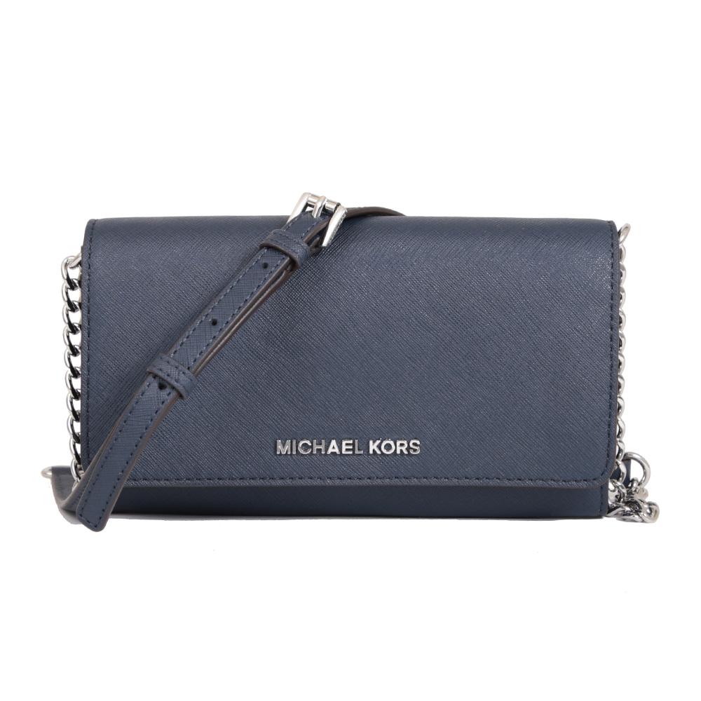 Michael Kors 防刮皮革銀色字母WOC手機斜背包(海軍藍)