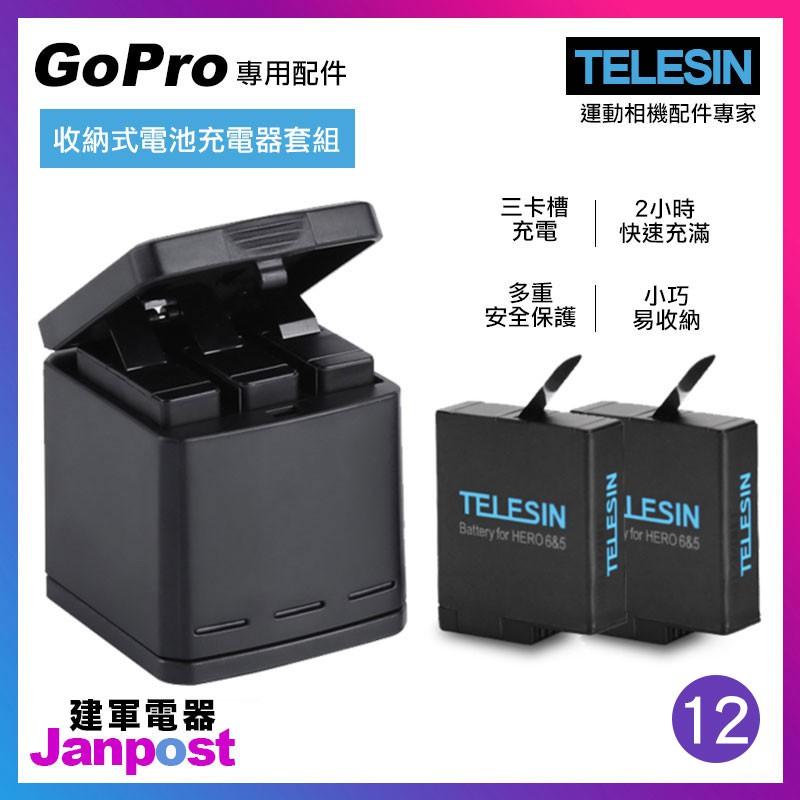 【建軍電器】Gopro Hero 5 6 7 收納盒 收納 三充電器 充電座 電池 Telesin 副廠 附充電線