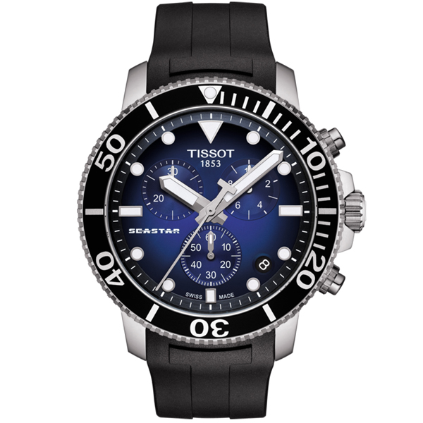 TISSOT 天梭 Seastar 1000海洋之星300米潛水三眼計時錶-45mm/藍x黑(T1204171704100)