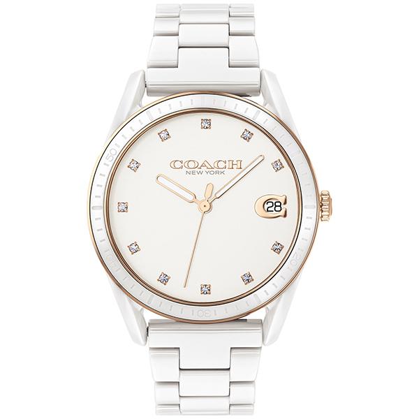 COACH 優雅質感陶瓷晶鑽腕錶-36mm/白(14503263)