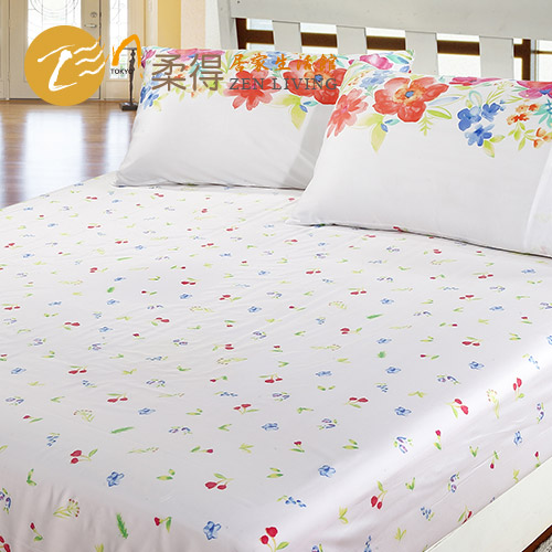 【Zen 柔得寢飾】繽紛彩夏 60支天絲特大床包+二枕 CLC02EK