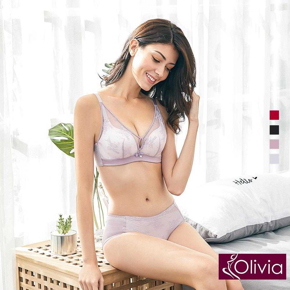 【Olivia】無鋼圈美姬蕾絲薄紗內衣+小褲-紫色