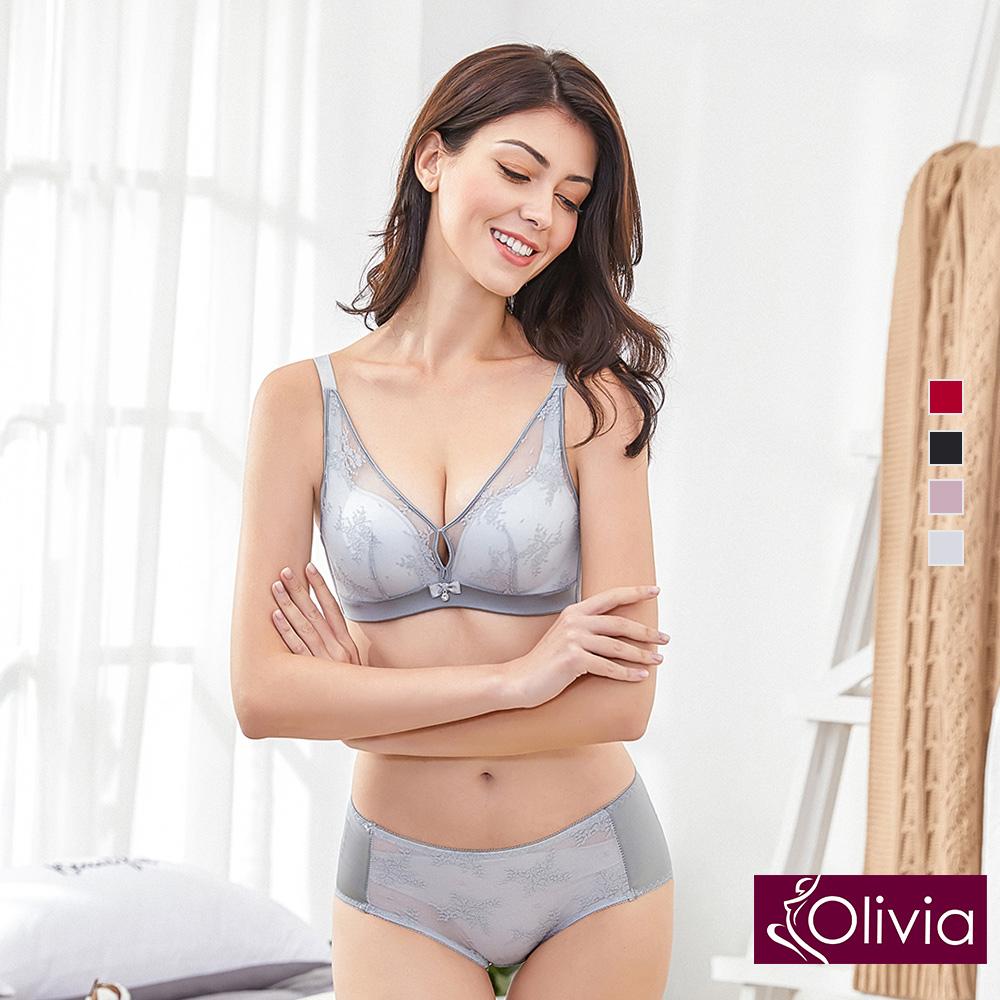 【Olivia】無鋼圈美姬蕾絲薄紗內衣+小褲-灰色