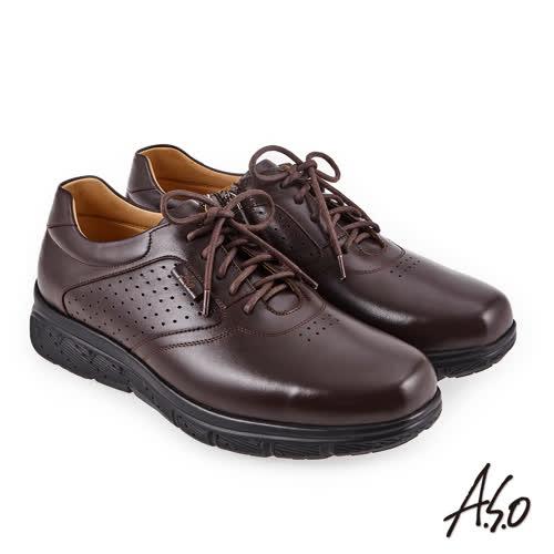 A.S.O 超能耐二代 壓紋綁帶氣墊休閒皮鞋(咖啡色)