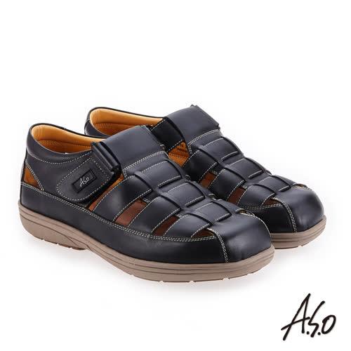 A.S.O 輕量樂活 蠟感牛皮調節式都會休閒涼鞋(黑色)