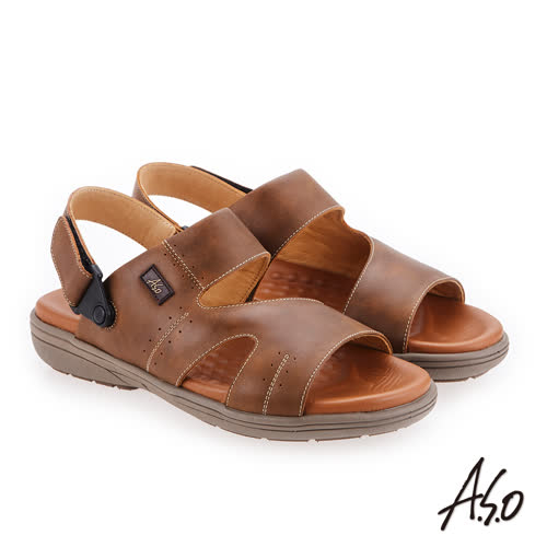 A.S.O 輕量樂活 蠟感牛皮涼拖鞋(橄欖綠)