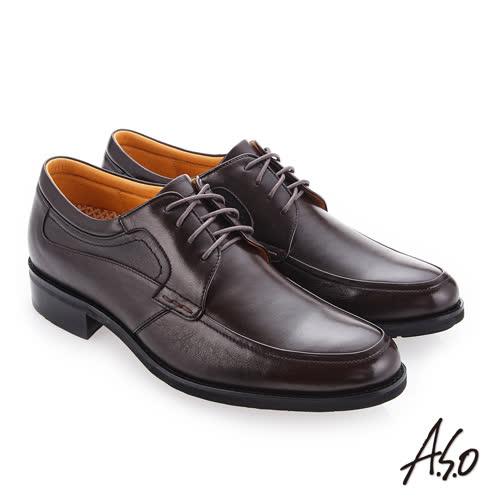A.S.O 霸足氣墊 綁帶牛皮奈米紳士皮鞋(咖啡色)