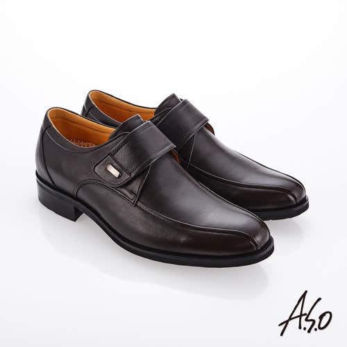 A.S.O 霸足氣墊 魔鬼氈牛皮奈米紳士鞋(咖啡色)