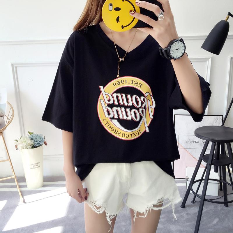 【韓系女衫】M~2XL夏季短袖韓流bf版綿t-時尚V款圓MARK款-3色
