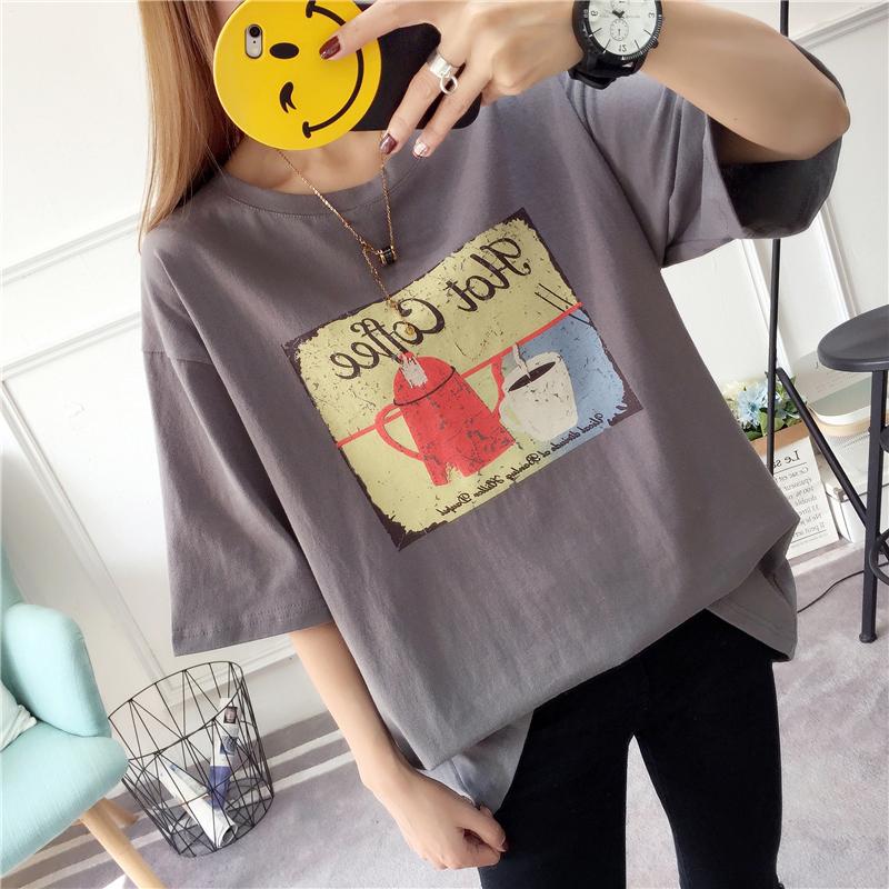 【韓系女衫】M~2XL夏季短袖韓流bf版綿t-時尚古典下午茶款-3色