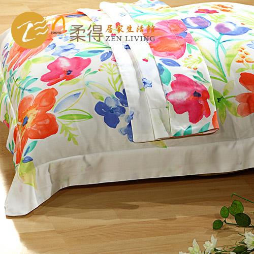 【Zen 柔得寢飾】繽紛彩夏 60支天絲壓框枕套一對CLC02T