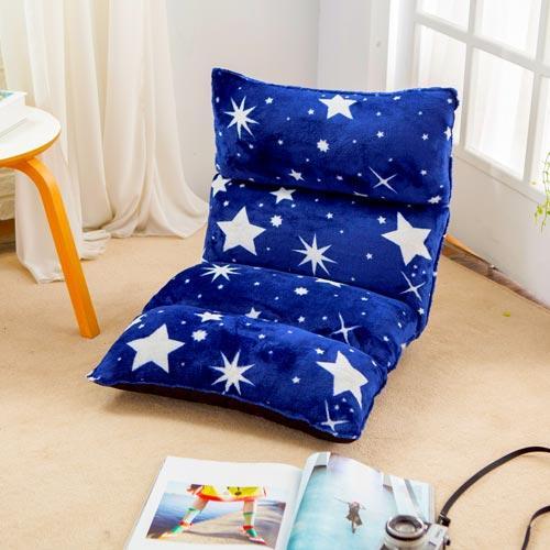 KOTAS 法蘭絨3D立體五段和室椅折疊椅休閒椅 -藍