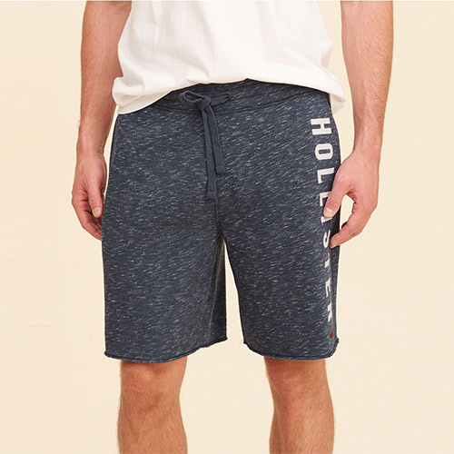 Hollister 海鷗 經典刺繡文字設計短棉褲-深藍色 335-415-0374-202