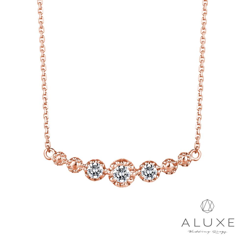 ALUXE 亞立詩 14K玫瑰金鑽石項鍊