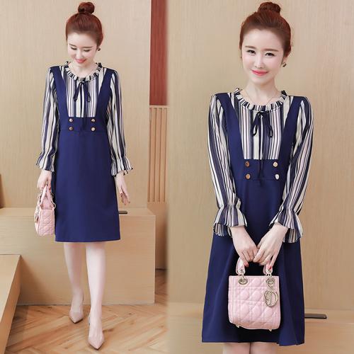 【韓國KW】(預購) 2XL-5XL 條紋絲雪紡輕柔洋裝