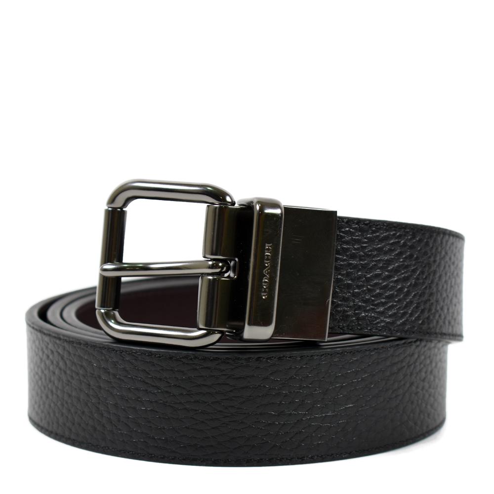 COACH 男款 鐵灰色短扣頭雙面用寬版皮帶-黑色/咖啡色