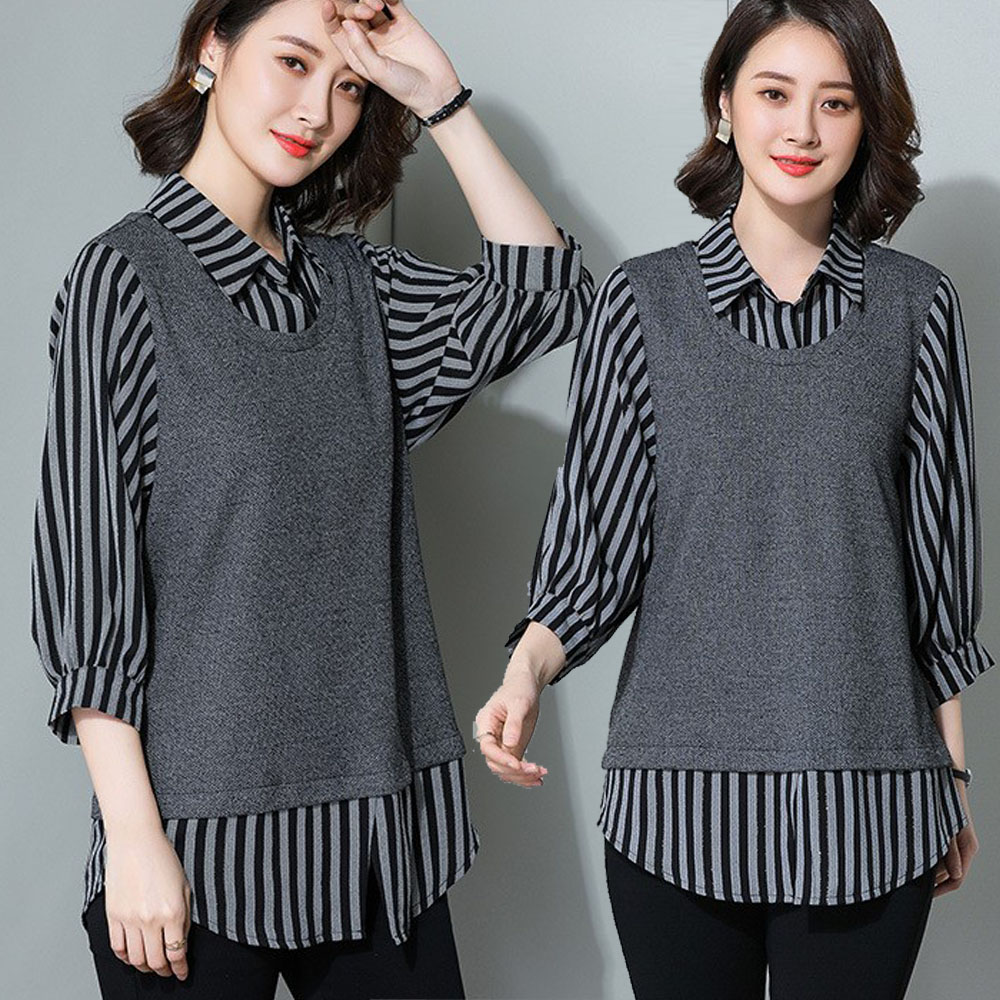 【麗質達人】19089灰色條紋拼接假二件上衣(XL-5XL)