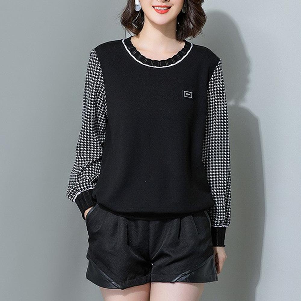 麗質達人(XL-5XL)黑色格紋拼接假二件上衣19103