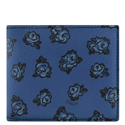 COACH 花朵圖樣PVC雙摺中夾-深藍色