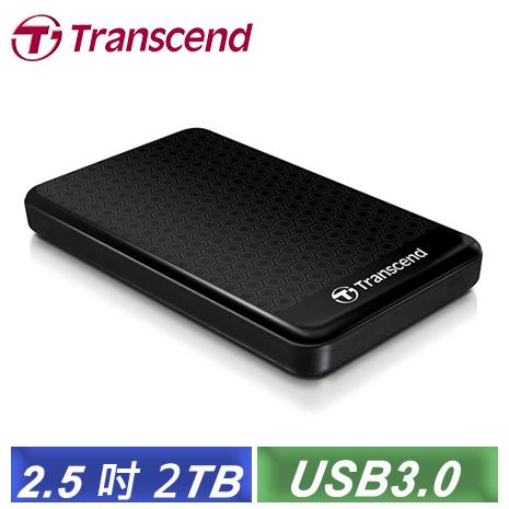 [夜殺] 創見 StoreJet 25A3 2TB USB3.0 2.5吋纖薄抗震行動硬碟 (TS2TSJ25A3K) 黑