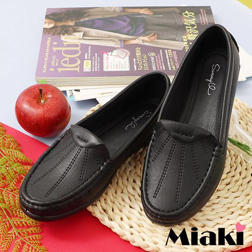【Miaki】通勤鞋.時尚素面休閒包鞋 (黑色)