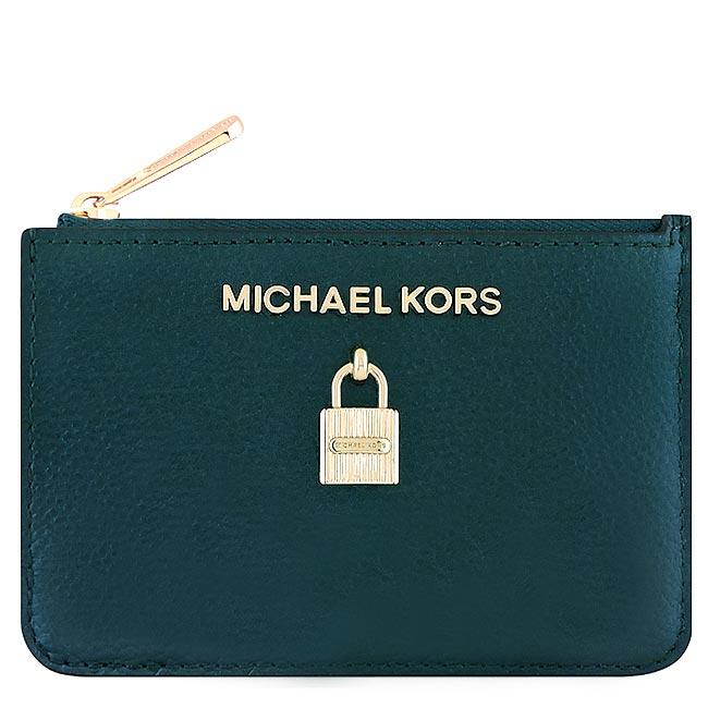 MICHAEL KORS Adele 光澤牛皮鎖頭鑰匙零錢包-湖水綠色