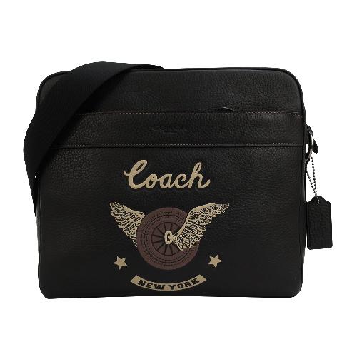 COACH NEW YORK刺繡皮革方形拉鍊斜背包(黑)